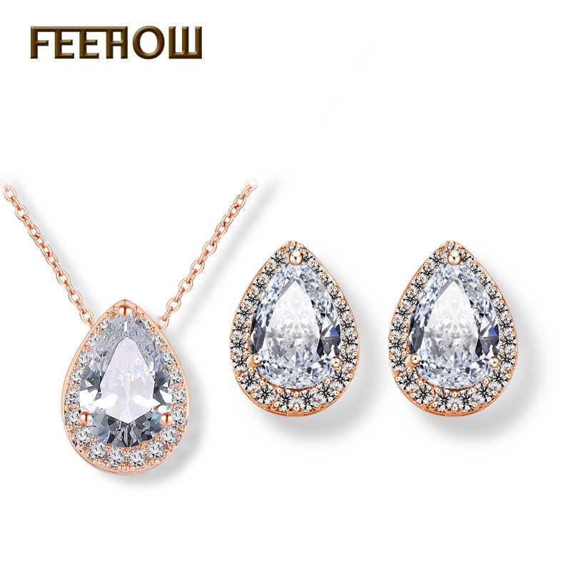 Juegos de joyas de boda de circonita cúbica con gota de agua nigeriana, juego de joyas de cristal de lujo para damas de honor