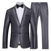 2018 Men's 2 Piece Set Business Casual Suit Set Men Grey Slim Suits for Male Groomsmen Groom Wedding S 5XL
