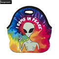 free shipping peace alien Thermal Insulated Neoprene Lunch Bag for Women Kids Lunchbags With Zipper Cooler Insulation Lunch Box