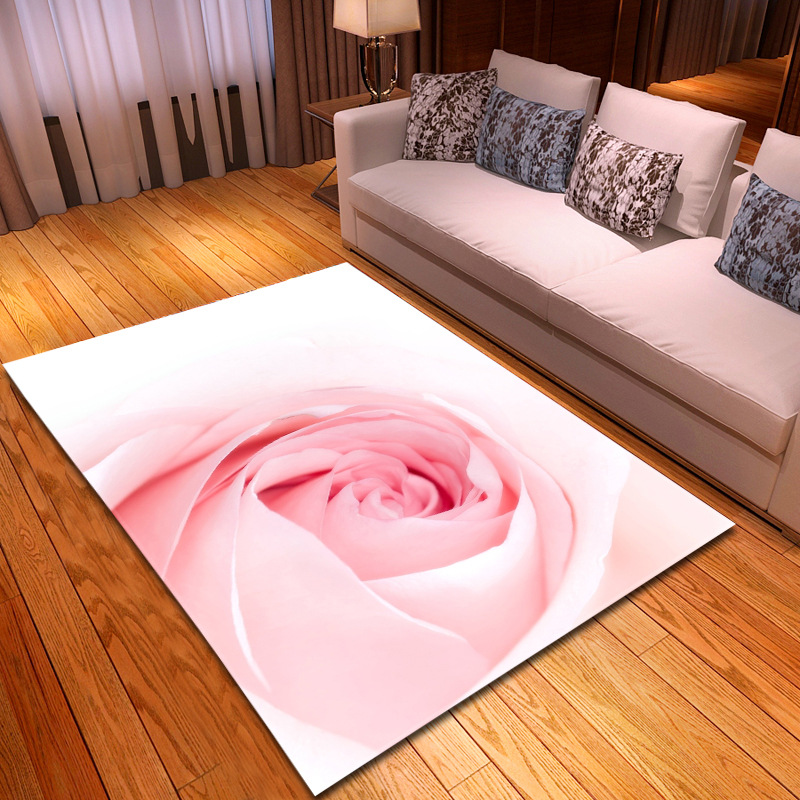 3D Romantic Pink Rose Area Rugs Parlor Large Size Carpet Soft Flannel Valentine's Day Home Decor Mat/Carpets For Living Room Rug
