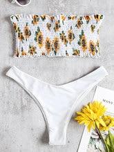 Women Bikini Strapless Bandeau Floral Sunflower