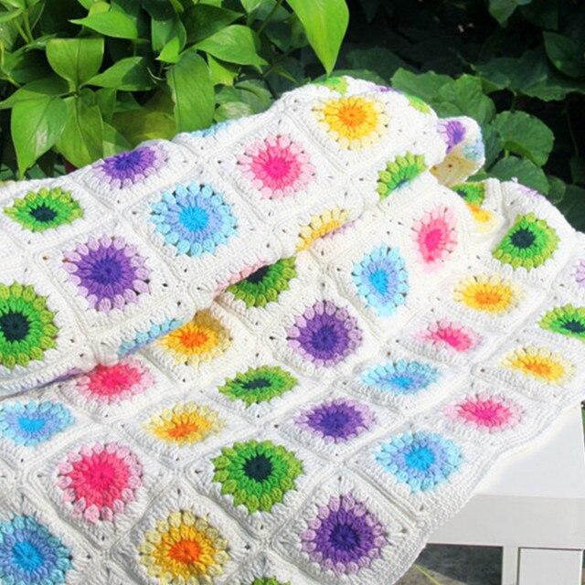 Handmade Blankets 120120cm Vintage Crocheted Granny Square Blanket