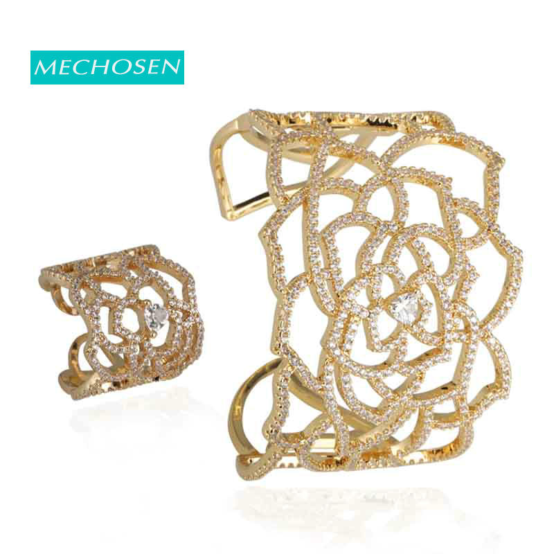 MECHOSEN New Luxury Dubai Gold Big Ring Bangle Lotus Hollow Out Full Zircon Sets Women Wedding Indian Bride 2019 AAA Jewelry Set