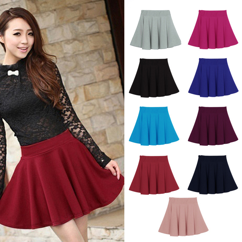 New Women Skirt Sexy Mini Short Skirt Fall Skirts Womens Stretch High Waist Pleated Tutu Skirt BMF88