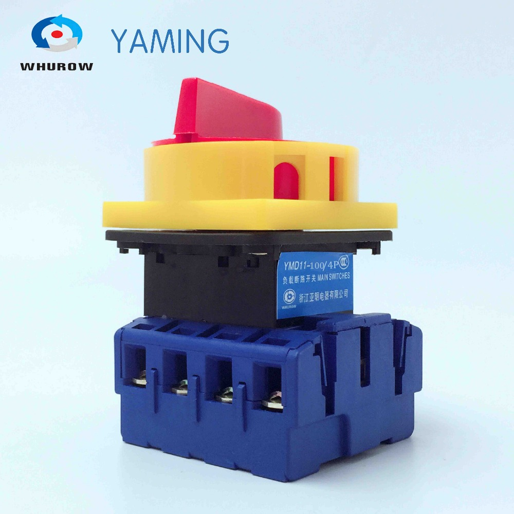 Yaming Locking isolator switch with padlock panel 100A 4 Phases 2 position on-off Changeover rotary switch YMD11-100A/4P load circuit breaker switch ac ui 660v ith 100a on off 3 poles 3 phases 3no 2 position universal rotary cam changeover switch