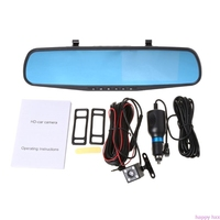 New 4.3'' 1080P Dual Lens Car Auto DVR Mirror Dash Cam Recorder+Rear View Camera Kit