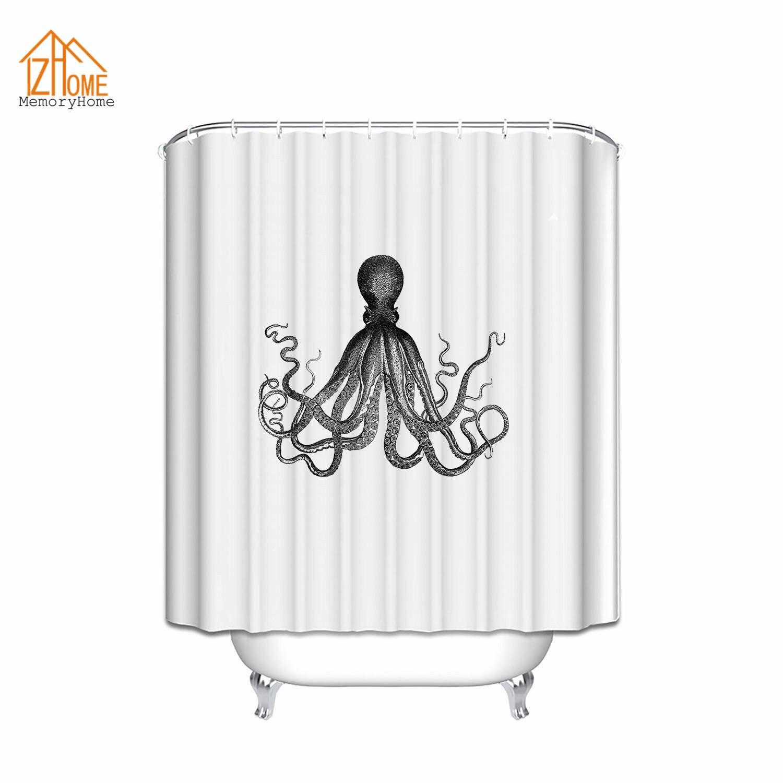 Kraken shower curtain - Memory Home Octopus Print Kraken Ocean Mildew Resistant Waterproof 100 Polyester Fabric Shower Curtains Black