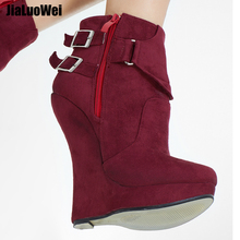 jialuowei High Heel Boots Women 7 inch Extreme Platform Sexy Fetish Wedge Heeled Buckle Straps Ankle Size 36-46