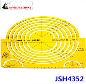 Большой овальный шаблон, большой эллипс, линейка для рисования, пластиковые полуэллиптические шаблоны для студентов, гибкий JSH4352