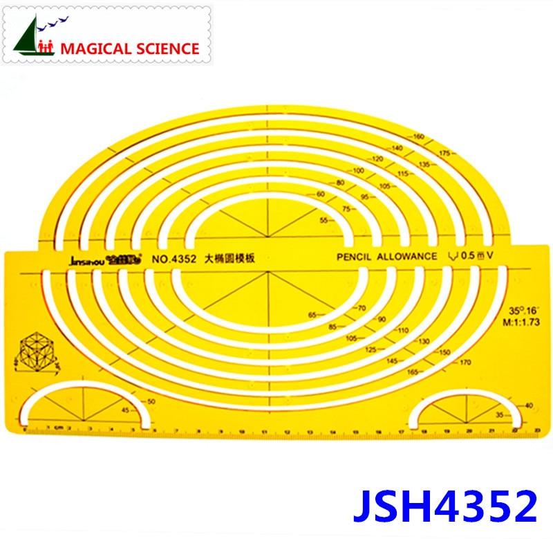Large Oval Template Big Ellipse Drawing Ruler Plastic Semi-elliptical Templates For Students Flexible JSH4352