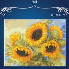BOBO Yellow sunflowers вышивка крестиком высшее качество аналогичная DIY DMC 14CT без принта вышивка крестиком, наборы для вышивания