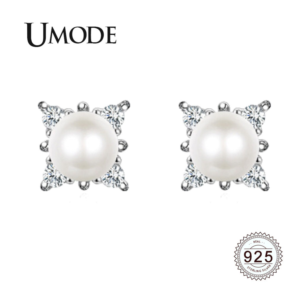 UMODE 5mm Real Round Fresh Water Pearl 925 Sterling Silver Studs Earrings for Women Cubic Zirconia Fine Jewelry perolas ULE0326UMODE 5mm Real Round Fresh Water Pearl 925 Sterling Silver Studs Earrings for Women Cubic Zirconia Fine Jewelry perolas ULE0326