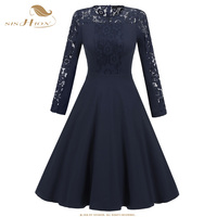SISHION Long Sleeve 50s 60s Vintage Dress 668S2 Black Blue Wine Red Patchwork Lace Swing Party
