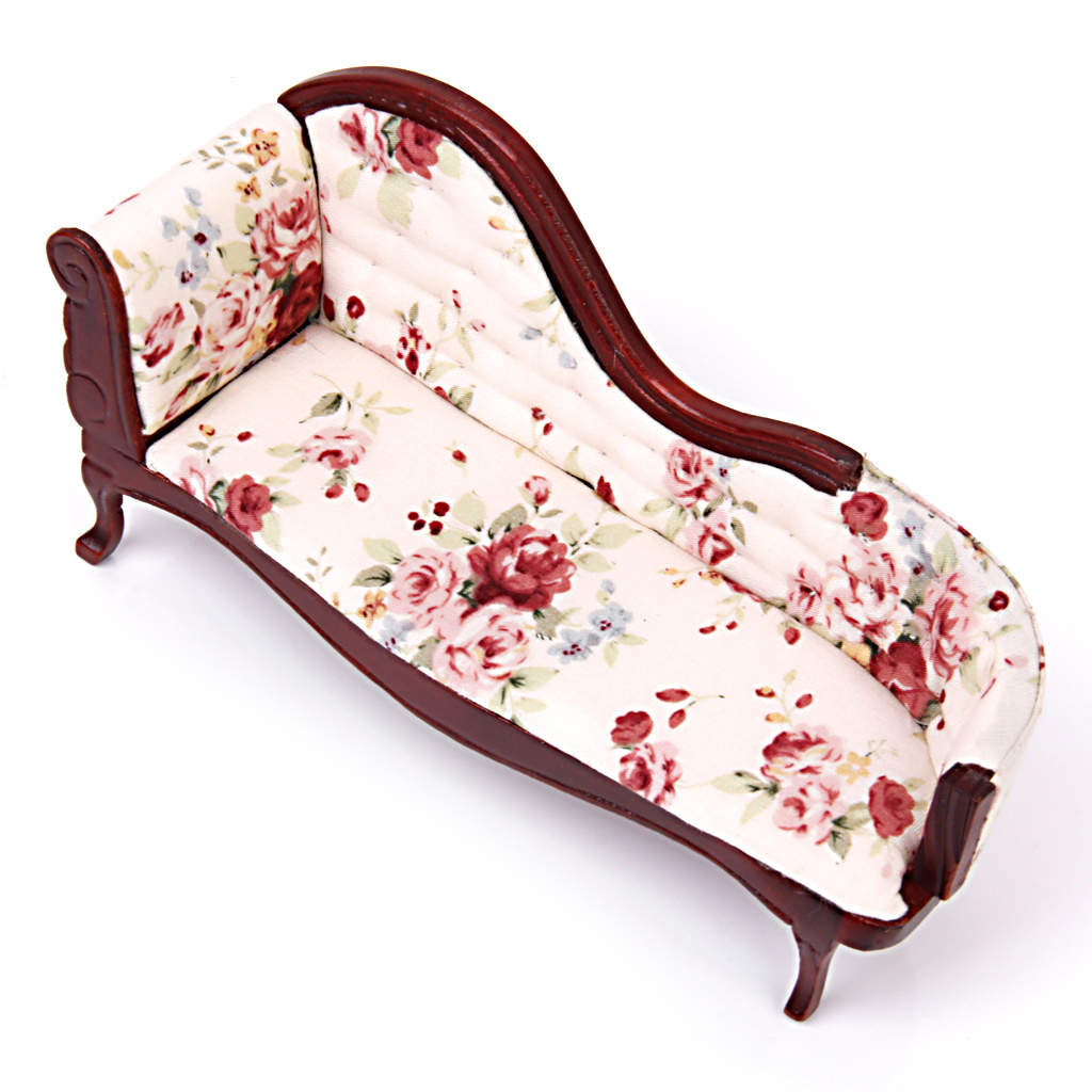 1:12 Dollhouse Miniature Furniture Sofa Wooden Recliner Chaise Vintage Sofa