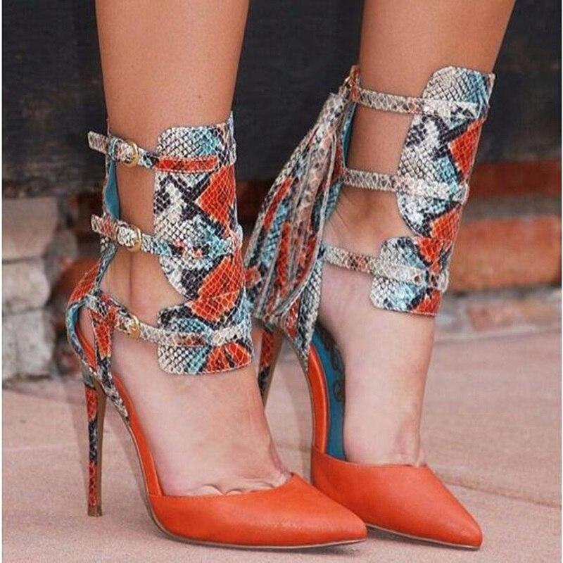 Décor Boucle Chaussures Bout Gladiateur Pointu Picture Sangle as Femme Gland Rétro As Pompes Noir Sexy Talons Hauts Ceinture En Cuir Dames Picture qYYS4