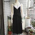 Largo Camisón de Encaje Slip Vestido de Satén Ropa de Noche Atractiva Camisones Lencería Camisón de Seda Artificial de Las Mujeres