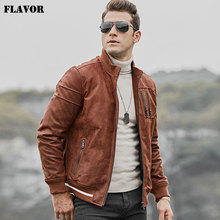 FLAVOR Men's Real Leather Jacket Men Pigskin Slim Fit Leather Coat with Standing