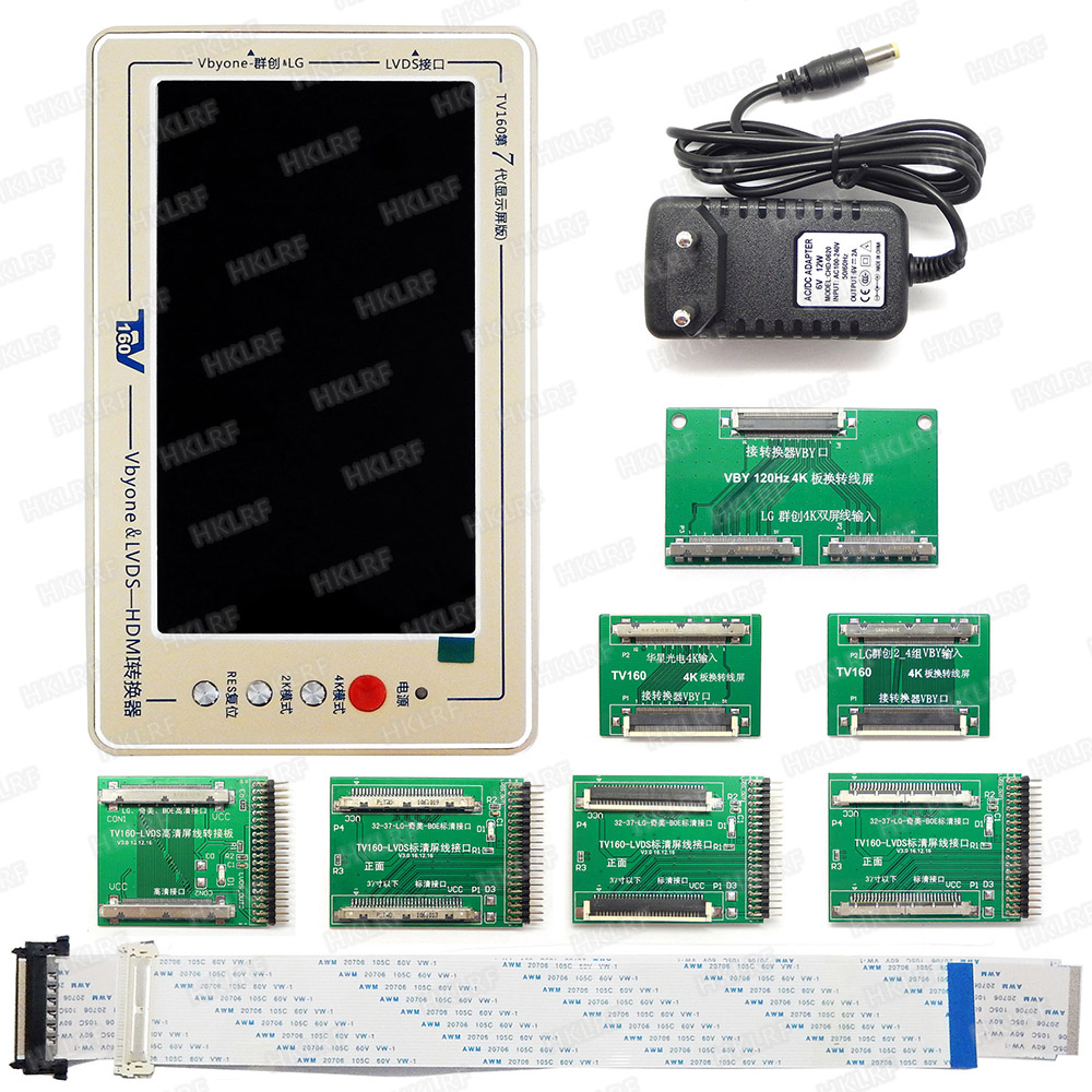 Image 4 - Official TV160 7th TV Mainboard Tester Tools 7 Inch LCD Display Vbyone LVDS to HDMI Converter With Seven Adapter Panels-in Integrated Circuits from Electronic Components & Supplies