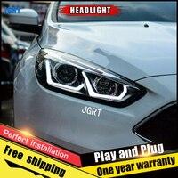2 шт автомобилей Стиль светодиодный фар для Ford Focus 2015 для Фокус фара светодиодный DRL Объектив Двойной Луч H7 Ксеноновые bi Xenon объектива