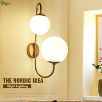 2016 American Style Shaped 2 Lights Rotatable Bedroom Led Wall Lamp Plate Lustre Metal And Frosted