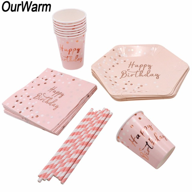 OurWarm Birthday Pink Disposable Party Tableware Set Paper Disposable Cups Plate Straws Napkin Kids Birthday Gifts Decoration