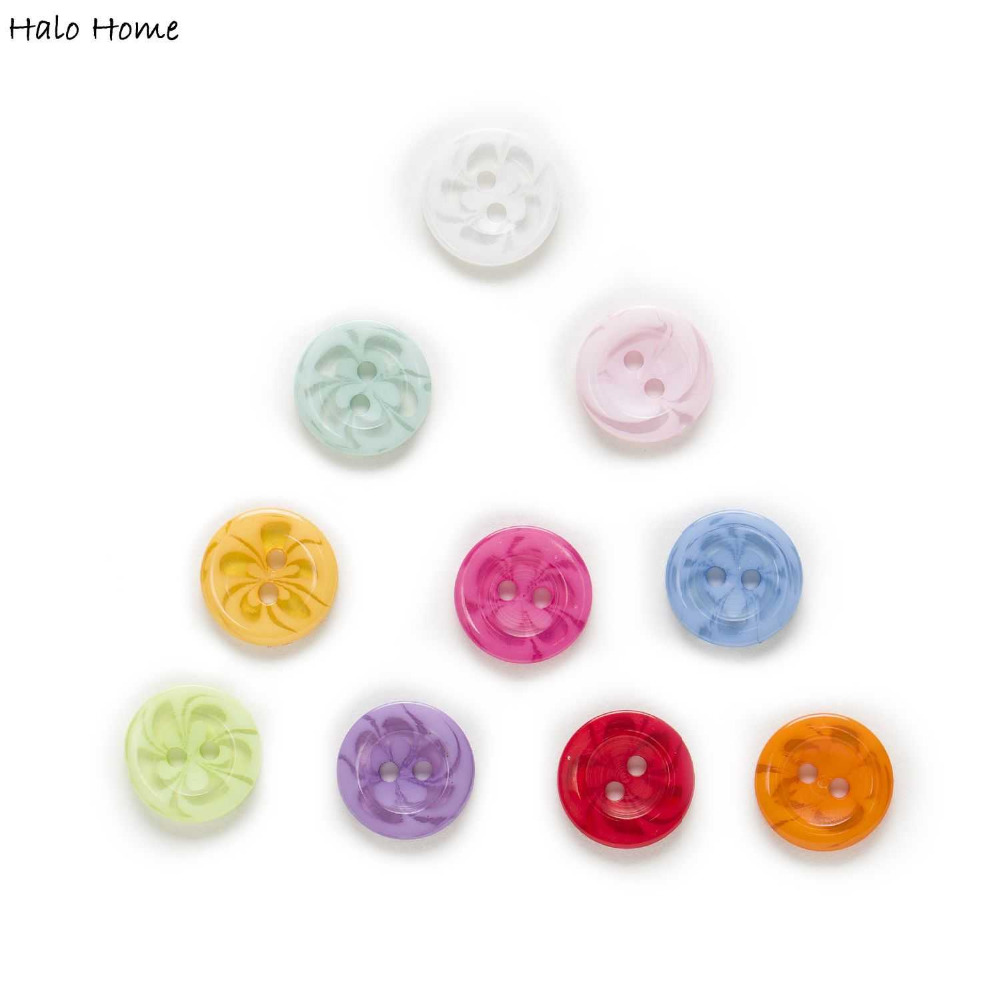 Transparent Pattern Flower 100pcs 2 Hole Round Mixed Resin Buttons Sewing Scrapbooking Clothing Fabric Covered DIY 14mm