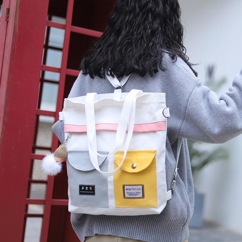 Women Multi-function Canvas Tote Ladies Casual Shoulder Bag Foldable Shopping Bags Beach Bag Female Handbag Canvas Backpack