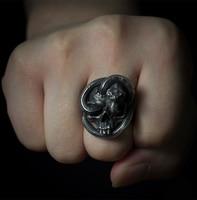 Original Design Handmade 925 Silver Enamel Ring Personality Skull Ring Dark Punk Snake Ring