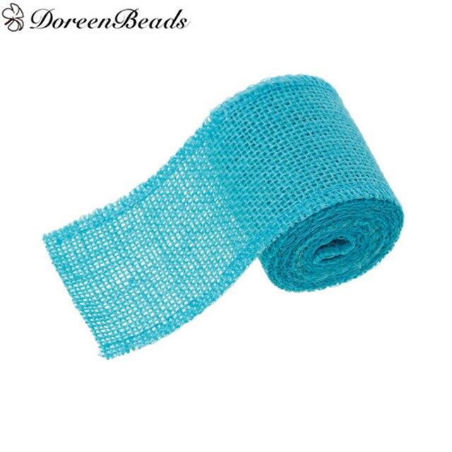 DoreenBeads Natural Jute Burlap Mesh Easter Ribbon Blue For DIY Craft Wedding Party Decor Christmas
