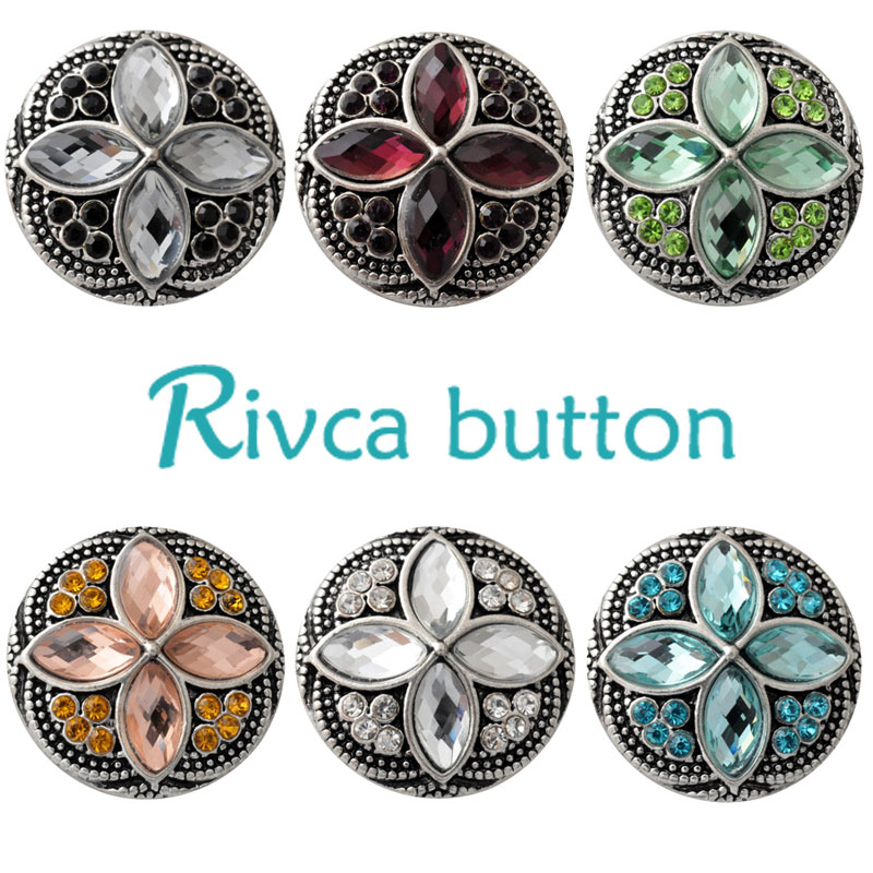 D02533 Wholesale 6 Color  Charm Rhinestone Styles Metal Ginger Snap Button Fit Snap Button Bracelets For Woman Rivca Jewelry