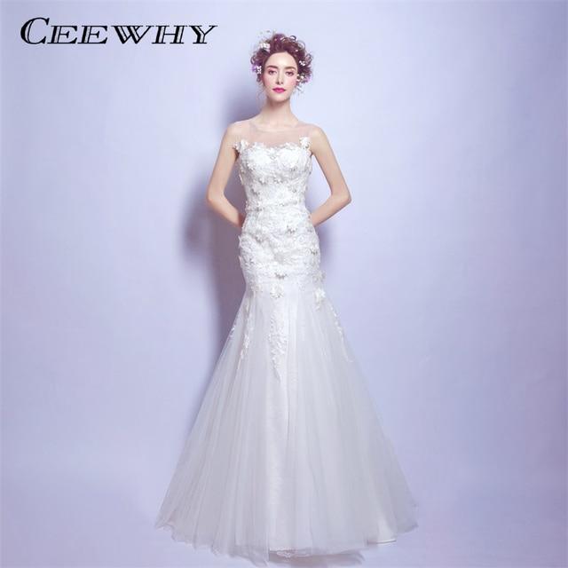 CEEWHY Sexy Backless Mermaid Wedding Dresses 2018 White Bridal Dress  Wedding Gowns Vestido De Noiva Appliques Robe de Mariee 9416833b3e9f