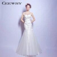 CEEWHY Sexy Backless Mermaid Wedding Dresses 2018 White Bridal Dress Wedding Gowns Vestido De Noiva Appliques Robe de Mariee