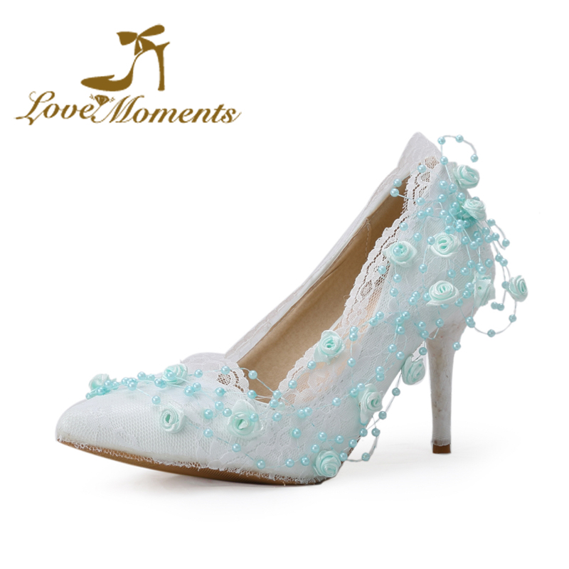 Love Moments Shoes woman blue/ White/ivory/pink sweet Flowers Lace wedding shoes pointed-toe bridal High Heels Women Pumps mantra подвесной светильник mantra habana 5300 5302