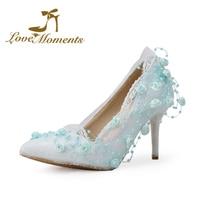 Love moments shoes azul/branco/marfim/rosa flores doces rendas sapatos de casamento pontas-toe de noiva de alta saltos mulheres bombas