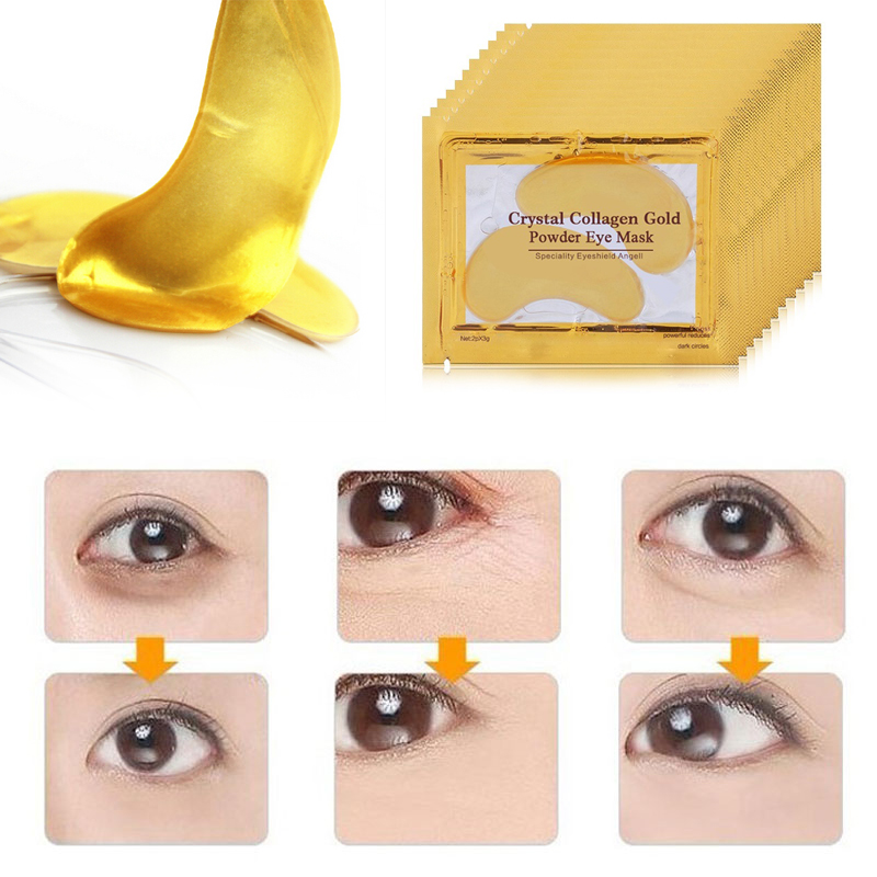 30pcs=15pair Gold Crystal Collagen Eye Mask Eyelid Eye Patches Under Eyes Mask 24K Golden Masks Dark Circles Removal Puffiness 1