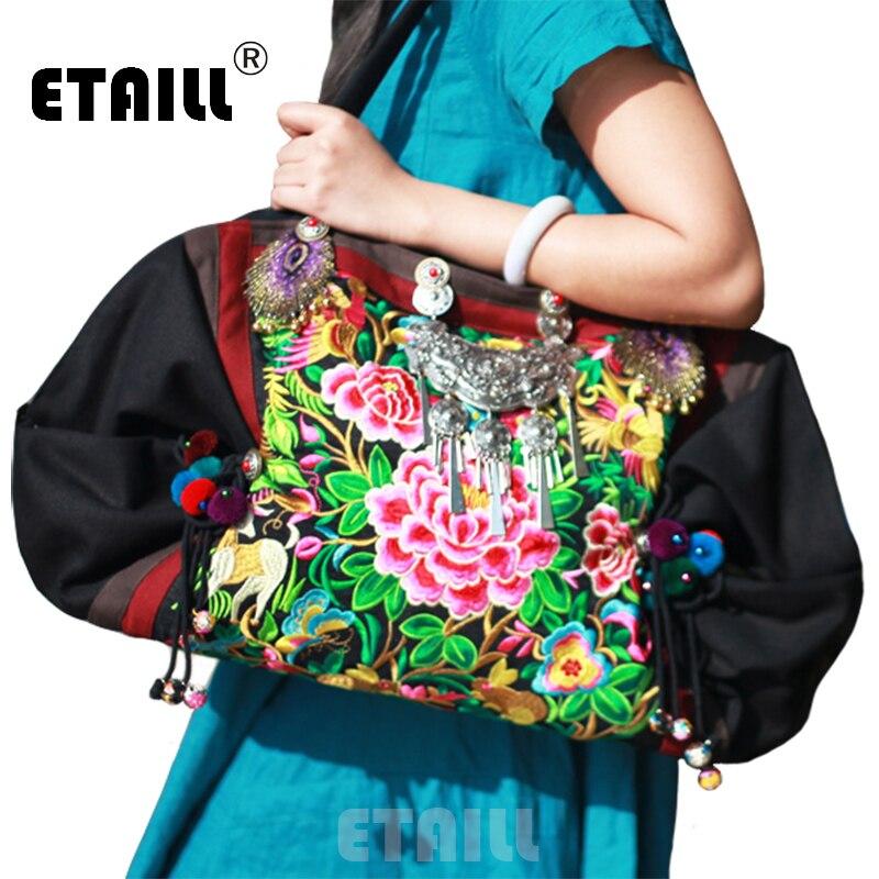 Grand 58 cm ethnique fait à la main indien Boho brodé sacs à main femmes marque Logo épaule voyage Shoppers sacs Sac à Dos Femme