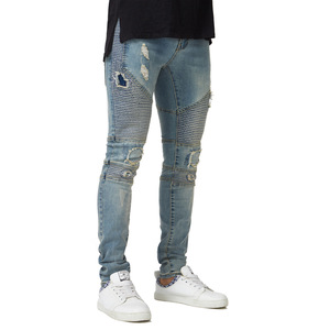 DOMBBFY 2019 brand men hip hop Hole jeans riding motorcycle jeans high quality skinny Stripe jeans Jogger Full Length mens pants