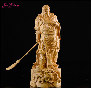 JIA-GUI LUO Creativebirthday gift  boxwood carving home decoration wooden crafts Chinese Buddha sculpture Guan Gong A017