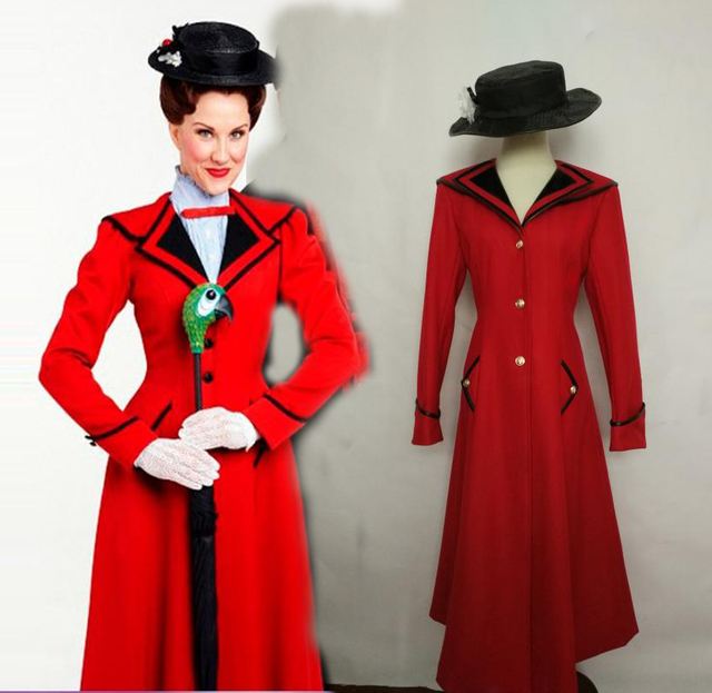 Custimzied Mary Poppins Cosplay Red Mantel Mit Hut In Custimzied