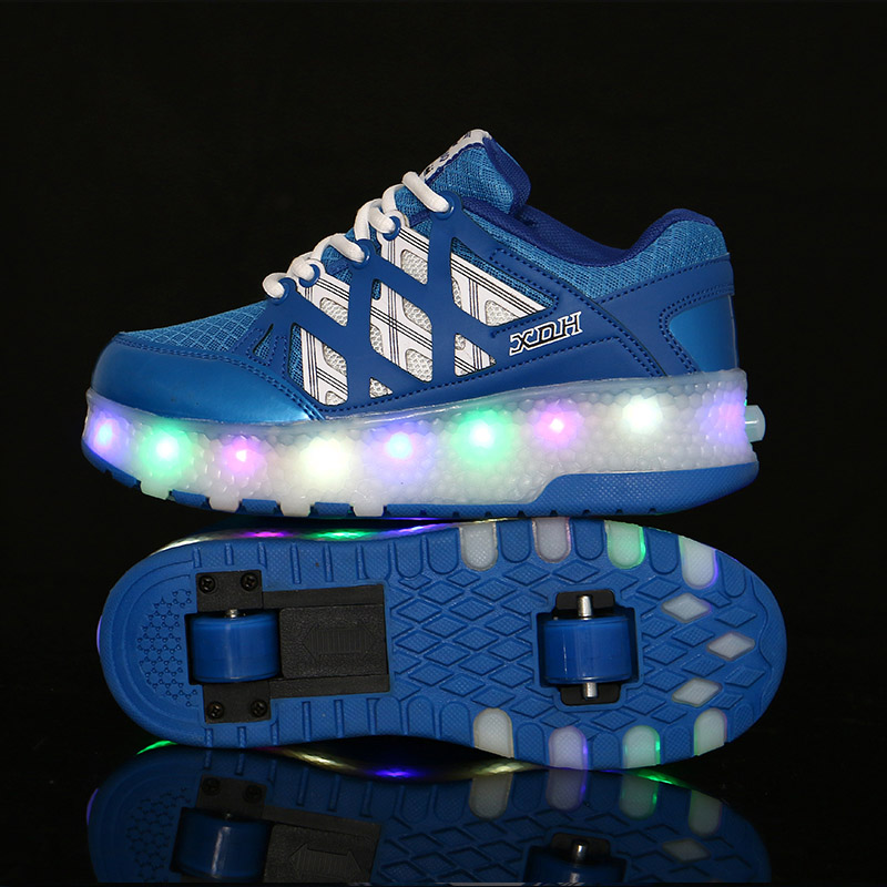 BABAYA Children Glowing Sneakers with Wheels Flash Led Light Boys Girls Luminous Sneakers Kids Light Shoes B32 kids shoes boys led lights sneakers with wheels single wheel glowing children shoes