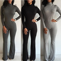 Sexy Club Jumpsuits 2016 Hot Fashion Women Wide Leg Club Party Jumpsuit Sexy Black Gray Long Sleeve Turtleneck Bodycon Rompers