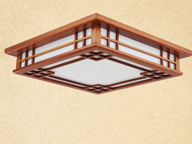 asiatique chinois japonais style plafond lampe led acajou finition bois lumi res plafond lampes. Black Bedroom Furniture Sets. Home Design Ideas