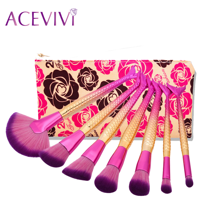 ACEVIVI 7pcs Professional Makeup Brushes Mermaid Shape Set Makeup Cosmetic Foundation Powder Blush Eyeliner Brush Makeup Tool 7pcs makeup brushes professional fashion mermaid makeup brush synthetic hair eyebrow eyeliner blush cosmetic