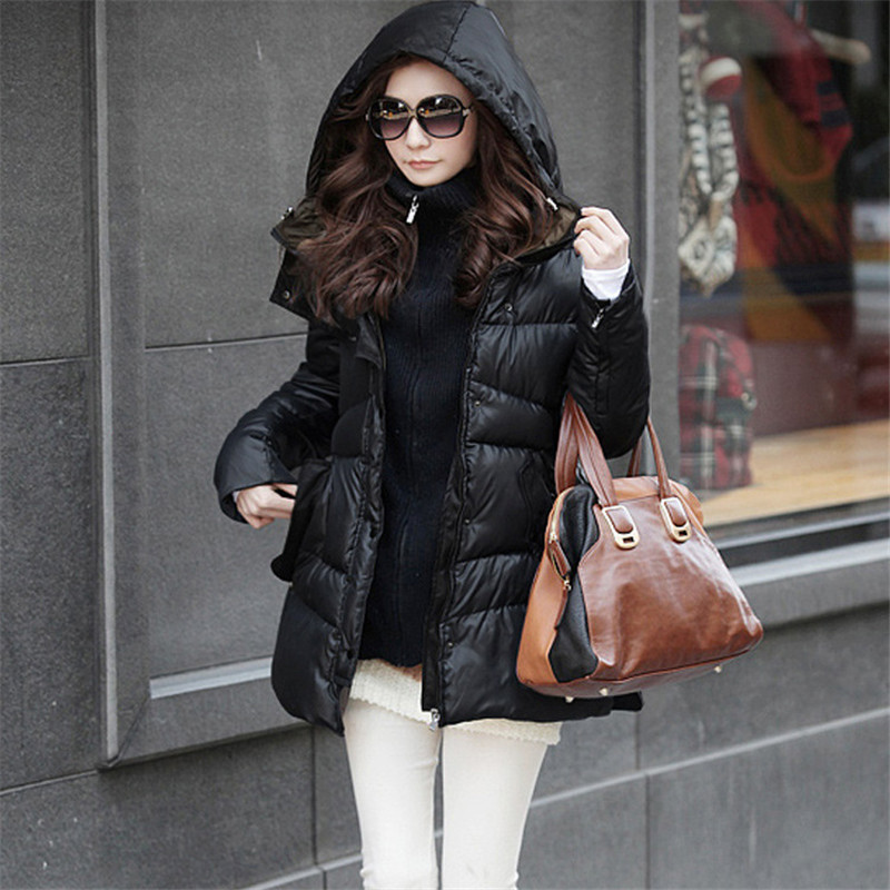 New winter Korean thick hooded down jacket women large size female Slim warm solid color slim was thin casual coat MZ1188 men ultra light large size thin parka jacket korean black cardigan china hoody winter overcoat slim warm military manteau homme