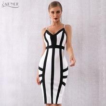 Adyce 2019 New Summer Women Bodycon Bandage Dress Vestido Elegant White Spaghetti Strap Striped Club Celebrity Party