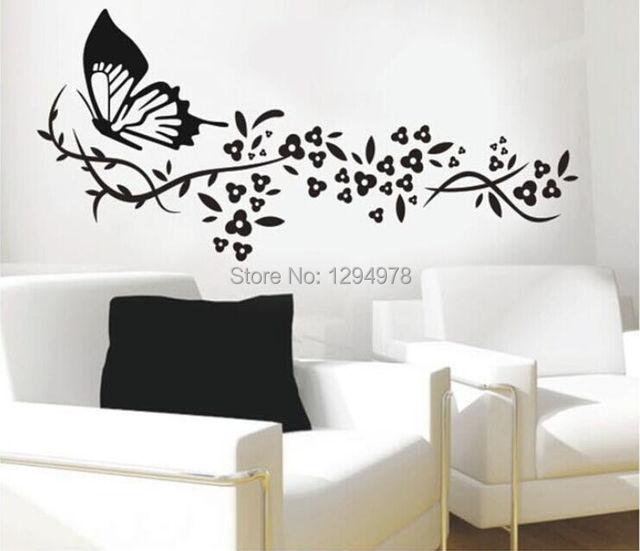 118*72cm Black Butterflyu0026Flower Living Room Vinyl Wall Art Decals Bedroom  3D Wall Stickers Large