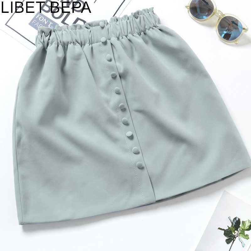 New 2019 Autumn Winter Women Girls Skirts Fashion Casual Elastic Buttons Solid A-Line Loose High Waist Mini Skirts SK1667