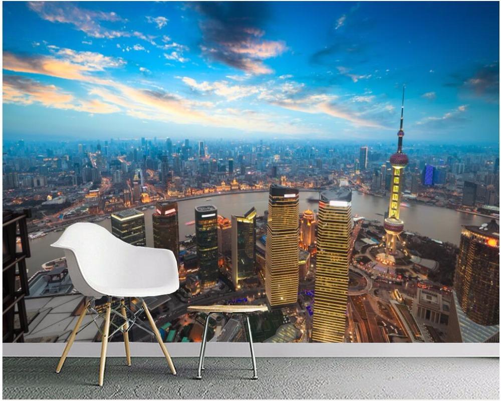 3d Room Wallpaper Custom Photo Mural Hd City Night View Background