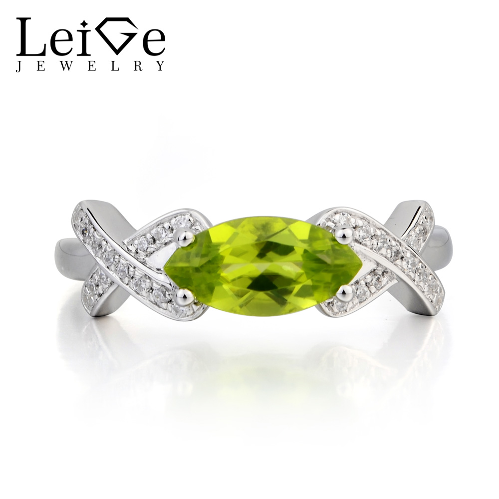цена Leige Jewelry Natural Peridot Ring Cocktail Party Ring Marquise Cut Green Gemstone August Birthstone 925 Sterling Silver Ring
