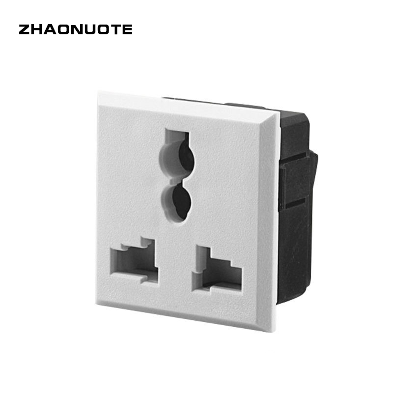 30pcs AC British Standard Power Socket 10A White Three Holes 40.5*42.5 Weldless Lock Screw AC Outlet Universal Socket
